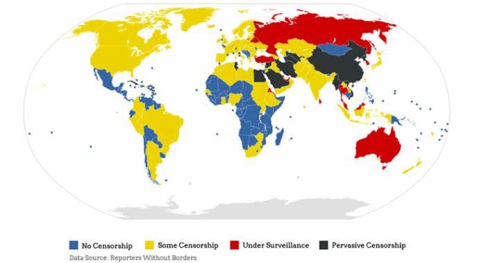 Mapa de censura en internet en el mundo